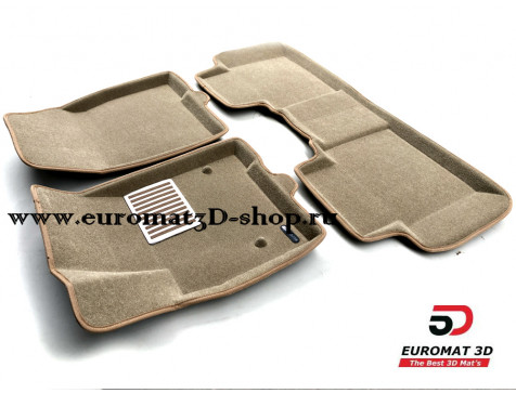 Текстильные 3D коврики Euromat3D Lux в салон для Cadillac XT5 (2017-) № EM3D-001307T Бежевые